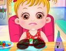 choi game Baby Hazel bị đau mắt
