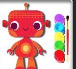 Bé tập tô màu Robot